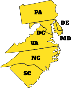 Areas we serve in DE, MD, DC, PA, NC, SC and VA